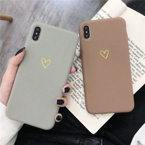NEW iPhone 12/11/Pro/Max/XR Gold Heart Logo case
